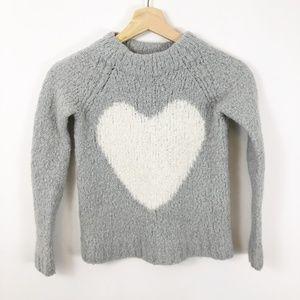 J. Crew Crewcuts Alpaca Grey & White Heart Sweater
